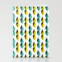 turquoise and yellow petal lines  Stationery Cards