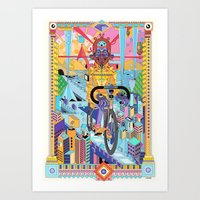 bicycle Art Prints featuring bicycle by yoaz