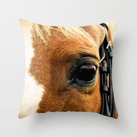 A Horse's Kind Eyes. Throw Pillow