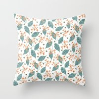 spots, leaves and bees Throw Pillow