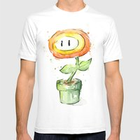 Fireflower Mario Waterco… Mens Fitted Tee White SMALL