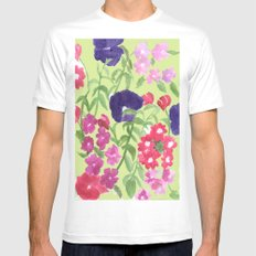 Floral Print SMALL White Mens Fitted Tee