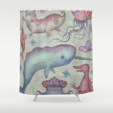 Creatures of the Deep Violet Sea Shower Curtain