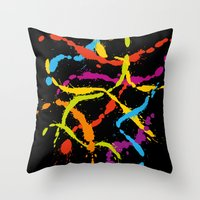 Splattered Rainbow [BLAC… Throw Pillow