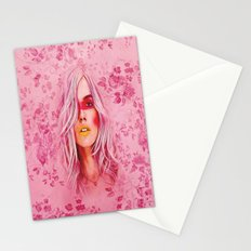 Girl with pink hair Stationery Cards