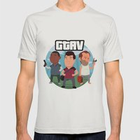 Grand Theft Auto V Cartoon Mens Fitted Tee Silver SMALL