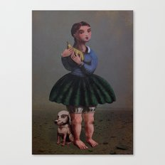 Girl with Giant Birne Canvas Print
