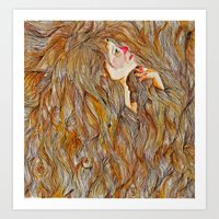 Hair Drowning  Art Print