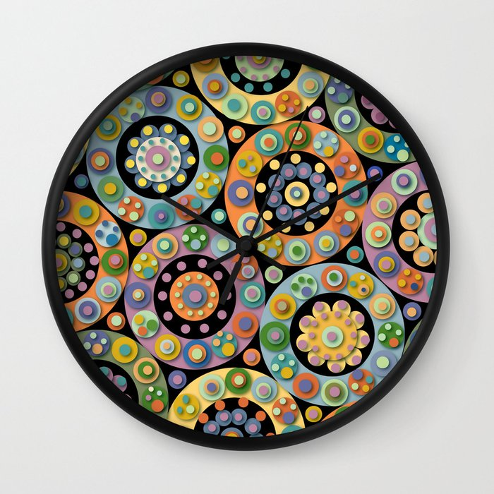 circles dots and flowers oh my wall clock by. Black Bedroom Furniture Sets. Home Design Ideas