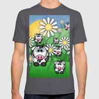 Cows & Daisies  Mens Fitted Tee Asphalt SMALL
