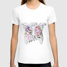 Floral Ribcage Womens Fitted Tee White SMALL