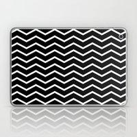 White Chevron On Black Laptop & iPad Skin