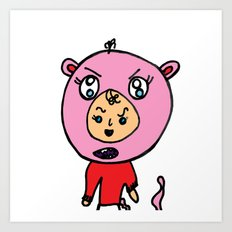 Angry Teddy Bear Baby Art Print