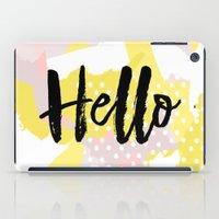 Hello Hello Hello Yellow and pink abstract iPad Case