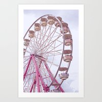 Pink Ferris Wheel Art Print