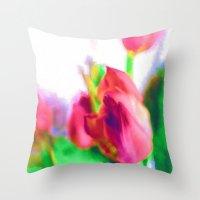 Harborough Tulips - Wate… Throw Pillow