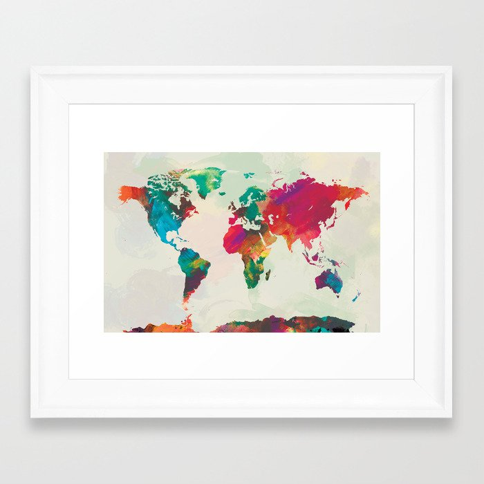 Watercolor World Map Framed Art Print by PAZWAZ Society6