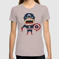 Screaming Captain America Womens Fitted Tee Cinder SMALL
