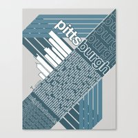Pittsburgh Neighborhoods, rev. 2 steel-blue hues Canvas Print