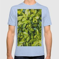 Too Much Green Leaves Mens Fitted Tee Athletic Blue SMALL