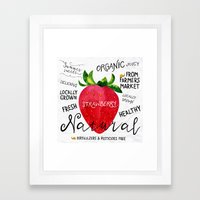 Watercolor strawberry Framed Art Print