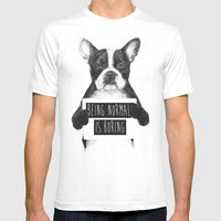 Being normal is boring Mens Fitted Tee White SMALL