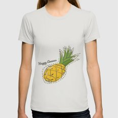 Happy Pineapple Womens Fitted Tee Silver SMALL