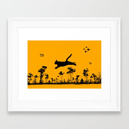The Cat and Ink drop bombs Framed Art Print