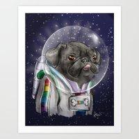 Cadet Sparkles Space Pug Art Print