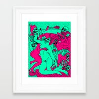 Allegorical Fight.  (Red .Vs. Green). Framed Art Print
