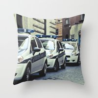 Police cars in Rome Throw Pillow