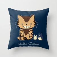 Hello Catbus Throw Pillow