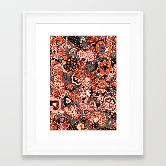 Doodle hearts Framed Art Print