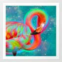 Color Outside the Lines (Neon Flamingo Remix) Art Print