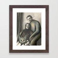 My Eyes! Vintage Black and White Photo Repainted in Oils  Framed Art Print