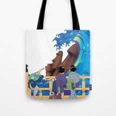 Hokusai People seeing Big Wave & Moai Tote Bag