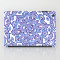 Lilac Spring Mandala - floral doodle pattern in purple & white iPad Case