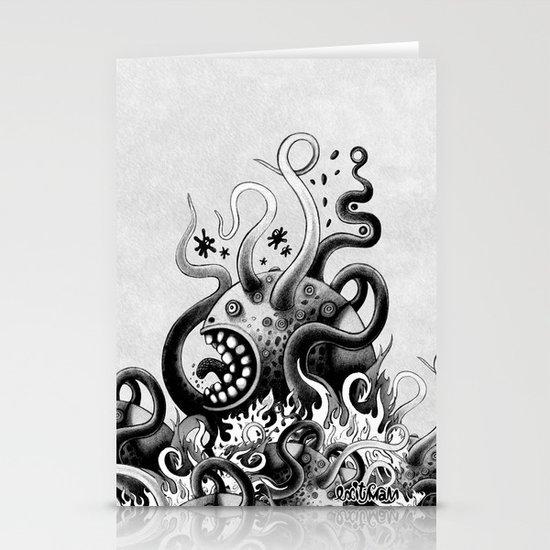Dark Octoworm Stationery Card