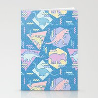 Nineties Dinosaurs Pattern  - Pastel version Stationery Cards