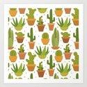 Cactuses white pattern Art Print