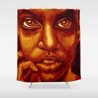 don't panic! in red Shower Curtain
