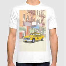 NEW YORK CAB SMALL White Mens Fitted Tee