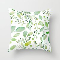 Watercolor Foliage Throw Pillow
