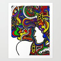 Rainbow Techno Art Print