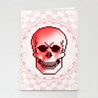 pixel skull Stationery Cards