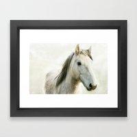 White Horse Portrait Framed Art Print