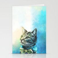 cats Stationery Cards featuring Handsome Cat by Alice X. Zhang