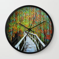 Walkway  In The Woods  Wall Clock