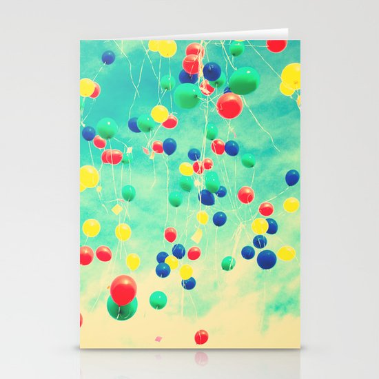 Let your wishes fly (Colour balloons in vintage - retro turquoise sky) Stationery Card