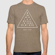 Woods -- Bon Iver Mens Fitted Tee Tri-Coffee SMALL